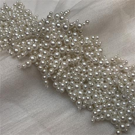 Fine Multi Pearl Beaded Insertion Trim Image 1