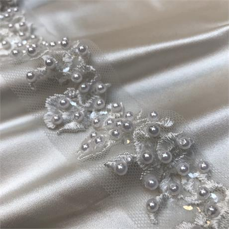 Pearl And Sequin Embroidered Tulle Trim Image 1