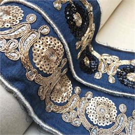Ribbon with Metallic Embroidery and Sequ thumbnail