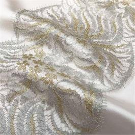 Fine French Metallic Double Scallop Lace thumbnail