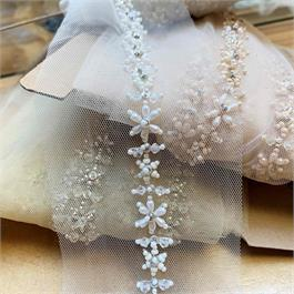 Emroidered Floral Tulle Trim thumbnail
