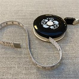 SeeKnit Tape Measure Metric/Imperial with Magnet - Black Flower thumbnail